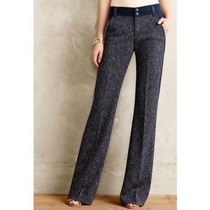 Anthro Elevenses Gray & Navy Tweed Brighton Pants